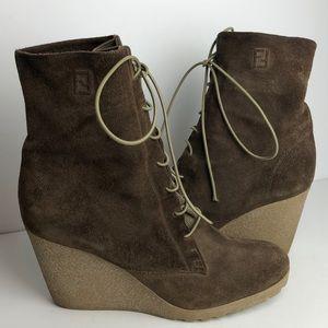 Fendi Tronchetto Crosta Terra Suede Ankle Boots
